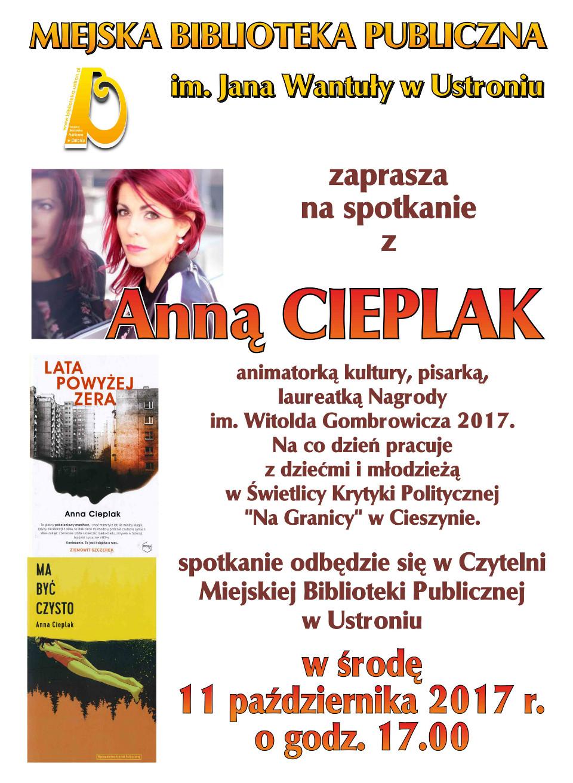 Spotkanie z Anną Cieplak 11.10.2017r