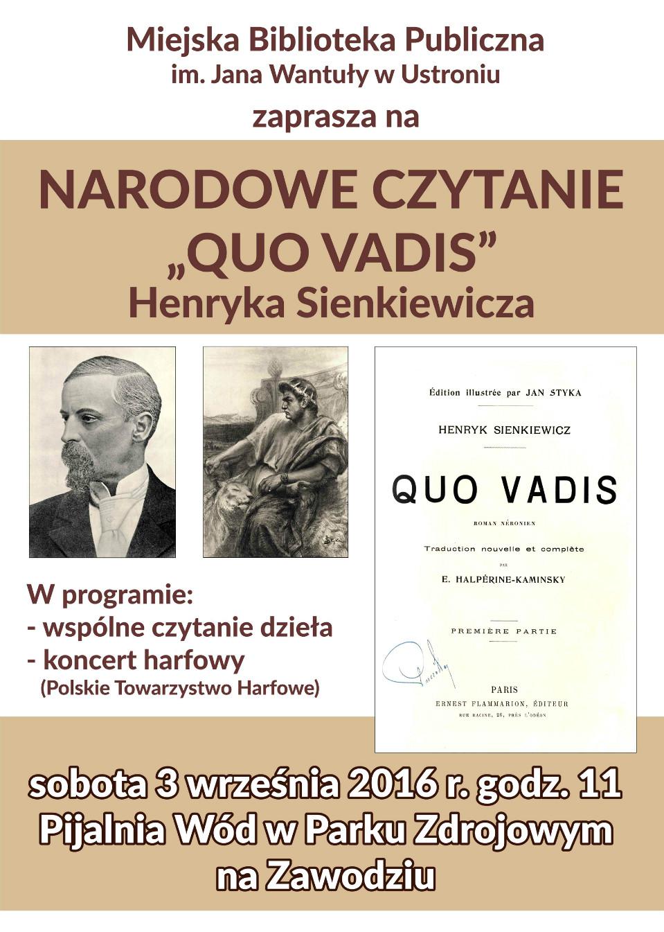 Narodowe Czytanie - 3 wrześień, 11.oo, Park Zdrojowy