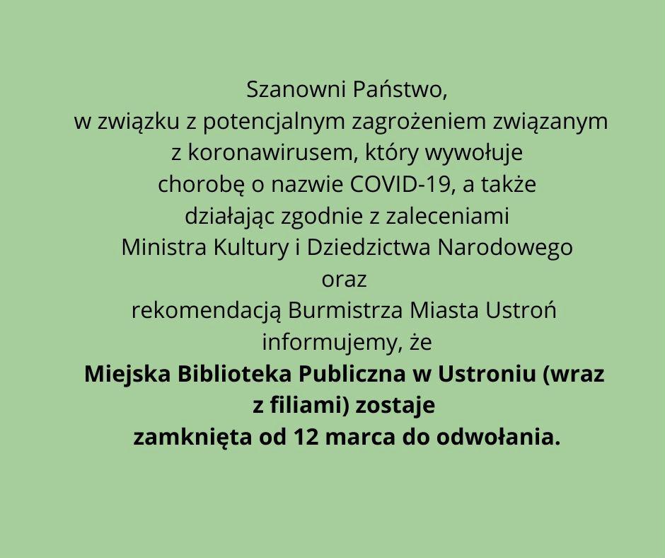 koronawirus-biblioteka nieczynna