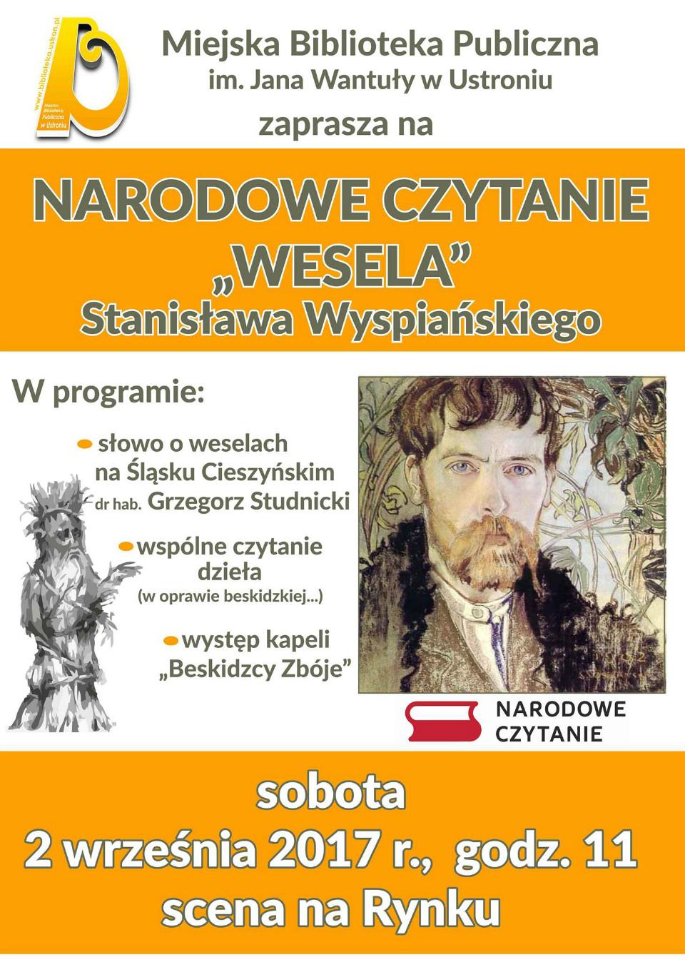 Narodowe Czytanie 2 września 11.00 Rynek w Ustroniu
